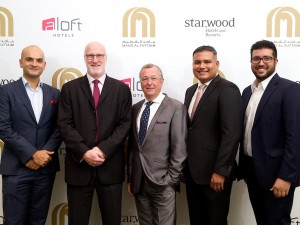Representatives from Majid Al Futtaim and Starwood Hotels & Resorts at the signing of Aloft City Centre Deira
