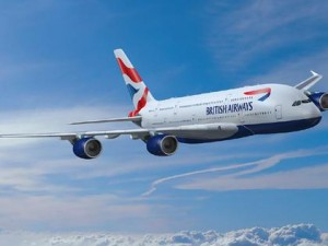 A mock-up of the British Airways Airbus A380.