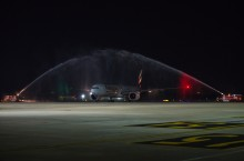 Emirates water salute in Cambodia
