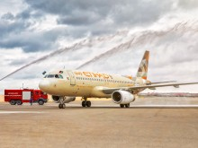 PHOTO 1 Etihad Airways inaugural flight to Baku arrives to a water cannon salute