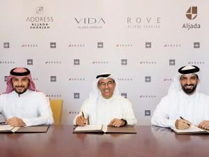 L to R HRH Prince Khaled bin Alwaleed bin Talal AlSaud, HE Mohamed Alabbar, HE Sheikh Sultan bin Ahmed Al Qasimi
