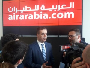 Adel Al Ali, CEO, Group Air Arabia during the press conference in Milan