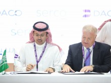 Turki Abdullah Al-Jawini, CEO, Dammam Airports Company and David Greer, CEO, Serco Middle East during the signing of the agreement