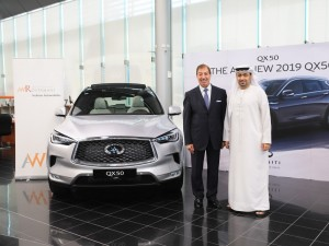 Ahmed Al Khaja, CEO, DFRE with Michel Ayat, CEO of Arabian Automobiles C...