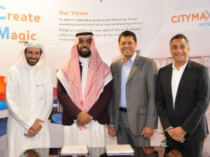 Riyadh-Signing (L_ Two representatives of Crown Garden Company for Catering LLC, Sanjay Dube - CEO, Landmark Hospitality, Aly Shariff - COO, Citymax Hotels